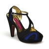 GIGGLE-02 Black/Blue Satin